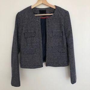 Cynthia Rowley Tweed Blue White Blazer Jacket